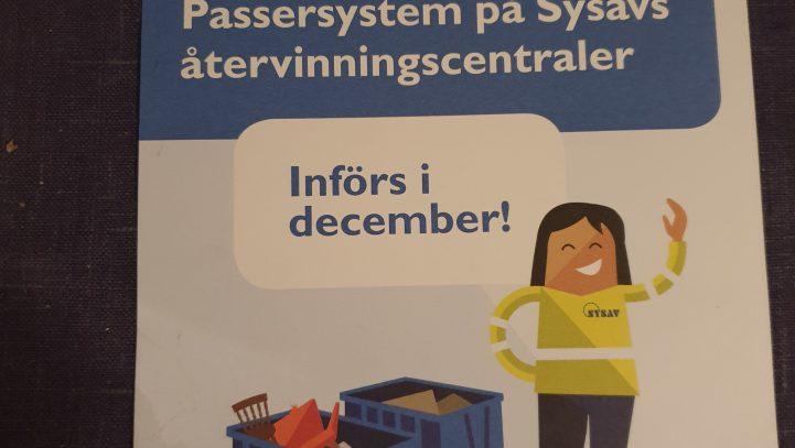 Passersystem införs i december 2019 på Sysav:s återvinningsstationer.